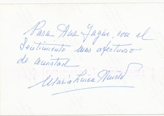 Dedicatoria de Mª Luisa Anido a Ana Yagüe, 1991.